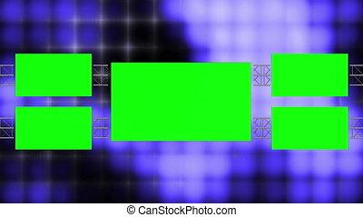 Blue Abstract Blocks Green Screen