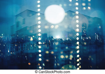 Blue abstract blurred cityscape background