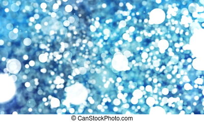 Blue Abstract Bokeh Lights Particles Loop Background.