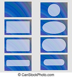 Blue abstract business card frame template set