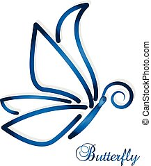 Blue abstract butterfly vector