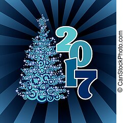 blue abstract christmas tree and 2017 year number