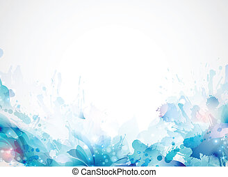 blue abstract background forming by blots and design...