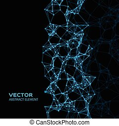 Blue abstract cybernetic particles on black background