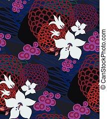 blue abstract dark seamless pattern vector floral design primitive scandinavian