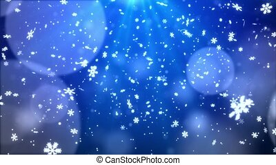 Blue Abstract Falling snow flakes Snowflakes Particles 4K Loop Animation
