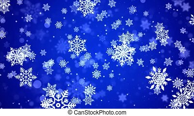 Blue Abstract falling snowflakes isolated on loop 4K background. Christmas design