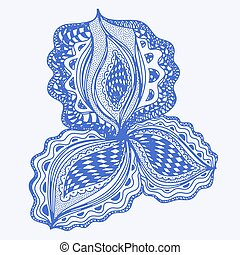 Blue abstract floral element for decorative design.
