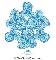 Blue abstract floral element with text for decorative design.