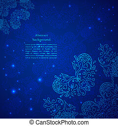Blue abstract flower background.