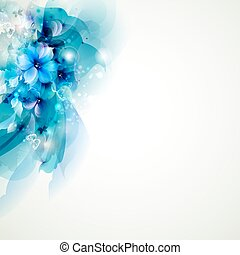 blue abstract flowers