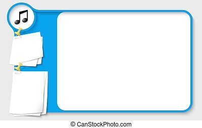 Blue abstract frame for your text with music icon and papers...