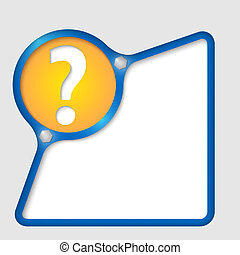 blue abstract frame with screws and question mark