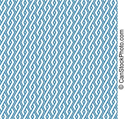 Blue abstract geometric seamless pattern with interweave lines. Vector vertical ornament wallpaper. Endless decorative background. Light ornate backdrop with rhombs.