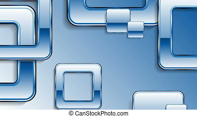 Blue abstract glossy retro squares video animation - Blue...