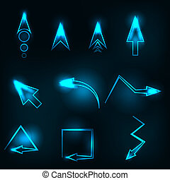 blue abstract glowing arrows vector