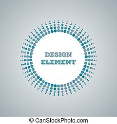 blue Abstract Halftone dot Logo Design Element with place for text on gradient background, vector circle illustration