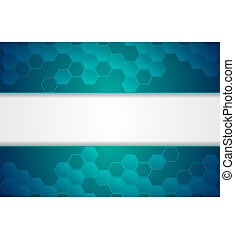 Blue abstract hexagons concept technology background