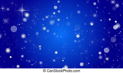blue abstract loop background, snow