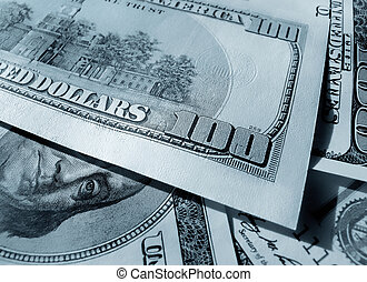 blue abstract money background from dollars usa