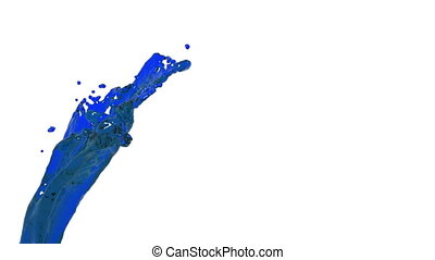 blue abstract paint stream on white background.. clear liquid