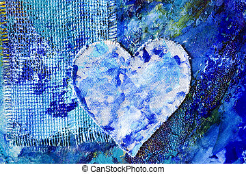 Blue abstract painting with heart
