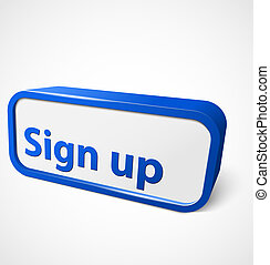 Blue abstract shiny banner sign up