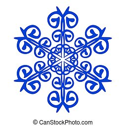 blue abstract snowflake on white background