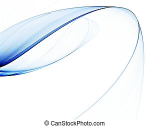 abstract veil with blue stripes against white background