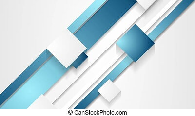 Blue abstract stripes and squares video animation