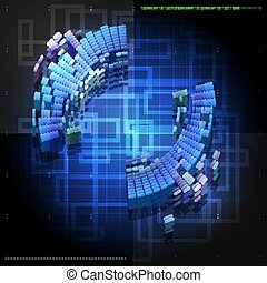 Blue abstract tech  background design with round shape. Modern t