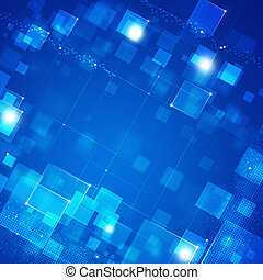 Blue Abstract Tech Background - Abstract blue Square Dot and...