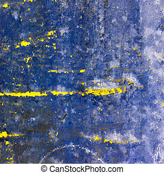 blue abstract texture old wall with cracks on the paint
