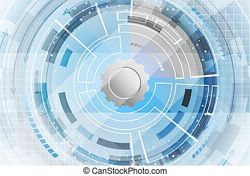 Blue abstract vector technological futuristic background.