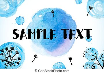 Blue abstract watercolor painted dandelions background -...
