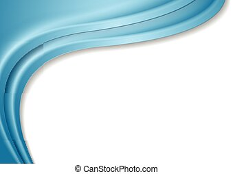 Blue abstract waves on white background