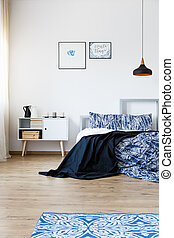 Blue accessories in bedroom