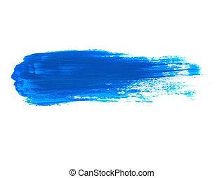 Blue Acrylic Paint Stroke Isolated on White Background