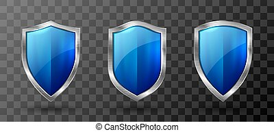 Blue acrylic shield metal frame realistic trophy - Blue ...