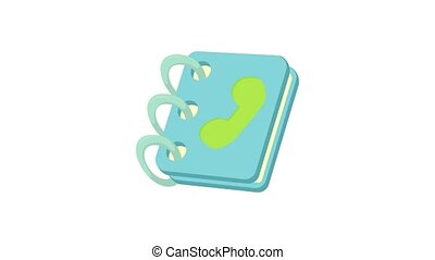 Blue address book icon animation best object on white background