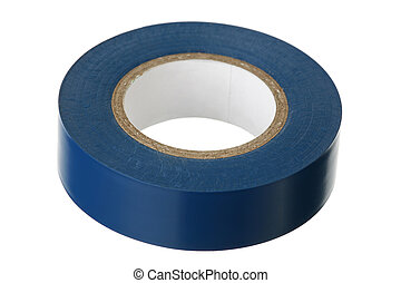 Blue adhesive insulating tape on a white background