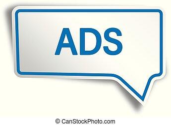 blue ads modern speech bubble tag web icon