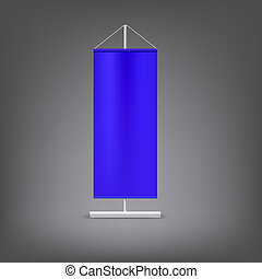 Blue advertising stand. Blank illustration.