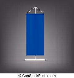 Blue advertising stand. Blank vector illustration.