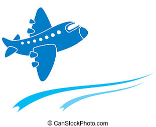 Blue aeroplane - Design of blue aeroplane isolated on white
