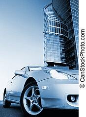 blue), afbeelding, (toned, sportende, auto