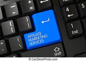 Blue Affiliate Marketing Services Keypad on Keyboard. 3D Illustration.