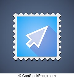 Blue ,ail stamp icon with a cursor