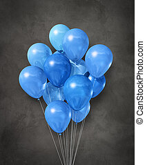Blue air balloons group on a concrete background