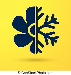 Blue Air conditioner icon isolated on yellow background. Vector Illustration